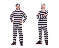 The convict criminal in striped uniform isolated on white. Convict criminal in striped uniform isolated on white Stock Images