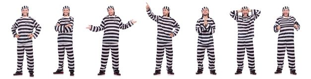 The convict criminal in striped uniform isolated on white Royalty Free Stock Photo