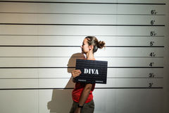 Convicted as a diva. Young lady convicted to be a diva Royalty Free Stock Photography