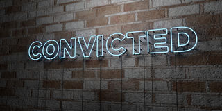 CONVICTED - Glowing Neon Sign on stonework wall - 3D rendered royalty free stock illustration Royalty Free Stock Photos