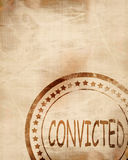 Convicted stamp on a grunge background Stock Image