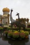 Convidados das estátuas do girafa do metal grandes no remendo rural chuvoso da abóbora foto de stock