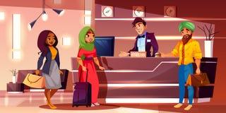 Convidados indianos que registram-se no vetor dos desenhos animados do hotel ilustração royalty free