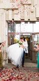 Convidados que jogam confetes sobre noivos At Wedding foto de stock royalty free