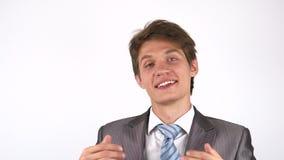 Convidando para um projeto novo, homem de negócios entusiasmado filme