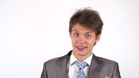Convidando para um projeto novo, homem de negócios entusiasmado vídeos de arquivo