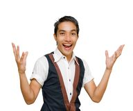 Convincing Asian salesman. Young Asian cheering entrepreneur or salesman making a marketing presentation with arms wide open and raised in a convincing welcoming stock photos