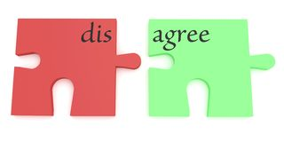 Convincing: Red And Green Agree Or Disagree Puzzle Pieces. 3d illustration royalty free illustration