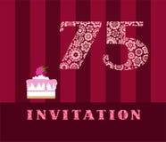 Convite, 75 anos velho, torta da framboesa, vetor, inglês Imagens de Stock