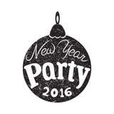 Convite ao partido do ano novo, 2016, tipografia, cartaz Imagens de Stock