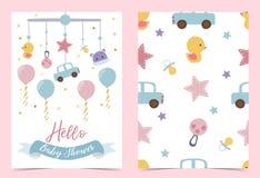 Convite azul cor-de-rosa do aniversário com chupeta, balão, carro, pato e fita Olá! festa do bebê imagem de stock royalty free