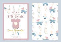 Convite azul cor-de-rosa do aniversário com chupeta, garrafa, leite, pano, carrinho de criança imagem de stock royalty free