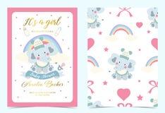 Convite azul cor-de-rosa do aniversário com chupeta, garrafa, leite, pano, coração e elefante fotos de stock royalty free