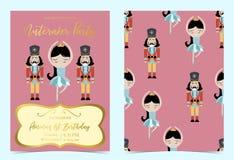 Convite azul cor-de-rosa do aniversário com quebra-nozes, princesa, bailado e solider imagens de stock