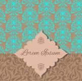 Convite azul do teste padrão do damasco de Brown Fotografia de Stock Royalty Free