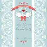 Convite bonito do casamento Laço da beira de Paisley, cisnes dos desenhos animados Vintag ilustração royalty free