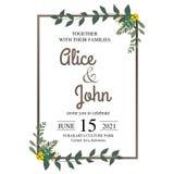 Convite bonito do casamento Vetor natural, molde botânico, elegante Estilo floral da aquarela do casamento, convite, salvo o d fotos de stock royalty free
