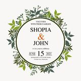 Convite bonito do casamento Vetor natural, molde botânico, elegante Estilo floral da aquarela do casamento, convite, salvo o d imagem de stock royalty free