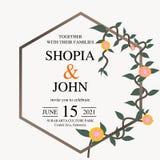 Convite bonito do casamento Vetor natural, molde botânico, elegante Estilo floral da aquarela do casamento, convite, salvo o d ilustração royalty free