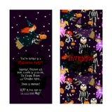 Convite bonito para o partido de Dia das Bruxas das crianças Fotos de Stock
