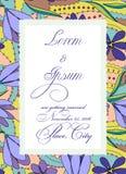 Convite colorido do casamento com a bandeira de papel rasgada Imagens de Stock Royalty Free