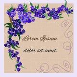 Convite com as flores do lilás da aquarela Fotos de Stock Royalty Free