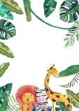 Convite da aquarela com animais selvagens e folhas da selva Ilustra??o desenhado ? m?o das crian?as ilustração do vetor