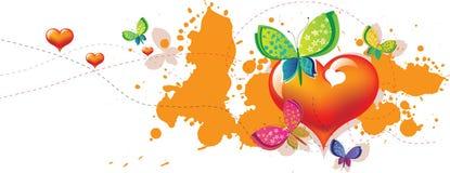 Convite da borboleta do coração Imagem de Stock Royalty Free