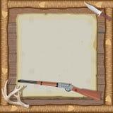 Convite da caça com frame de madeira Imagens de Stock Royalty Free
