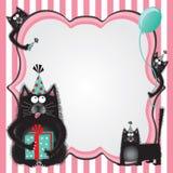 Convite da festa de anos do gato da vaquinha Imagens de Stock Royalty Free