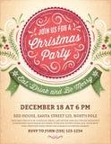 Convite da festa de Natal com uma etiqueta vermelha grande Imagem de Stock Royalty Free