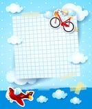 Convite da festa do bebê com avião e bicicleta Fotografia de Stock