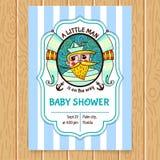 Convite da festa do bebê com capitão de mar ilustração do vetor