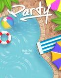 Convite da festa na piscina Fotos de Stock Royalty Free