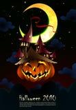 Convite de Halloween | Poster | O castelo assustador cresce Foto de Stock