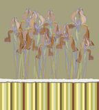 Convite decorativo do teste padrão com flores da íris, Fotografia de Stock Royalty Free