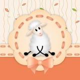Convite do aniversário com o cordeiro branco bonito Imagens de Stock