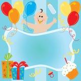 Convite do aniversário do bebé Fotografia de Stock