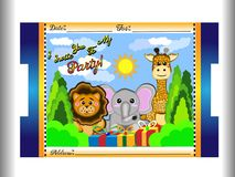 Convite do aniversário para crianças dos animais tais como o elefante, o girafa e o leão, junto com o sol e as nuvens assim que o imagens de stock royalty free