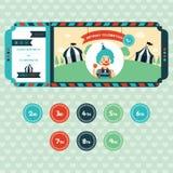 Convite do aniversário para crianças no estilo do bilhete Imagens de Stock
