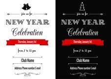 Convite do ano novo em preto e branco Imagem de Stock Royalty Free