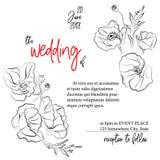 Convite do cartão do casamento Decoração moderna do feriado com flores das papoilas Molde floral do vintage verão da mola Imagem de Stock Royalty Free