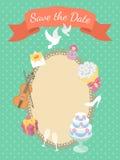 Convite do cartão de casamento Fotos de Stock Royalty Free