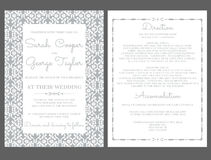 Convite do cartão do convite do casamento de prata com ornamento Fotografia de Stock Royalty Free
