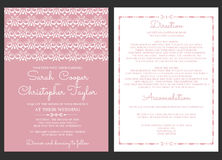 Convite do cartão do convite do casamento do vintage com ornamento Ilustração do Vetor