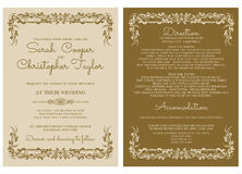 Convite do cartão do convite do casamento do vintage com ornamento Fotografia de Stock