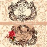 Convite do casamento ajustado com decoração do vintage Imagens de Stock