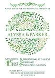 Convite do casamento Círculo verde das refeições matinais da aquarela ilustração stock