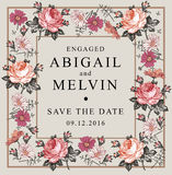 Convite do casamento Camomila bonita Rosa das flores Cartão do vintage Quadro Gravura do desenho Imagens de Stock Royalty Free
