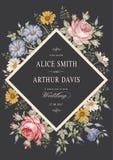Convite do casamento Cartão realístico bonito de Rosa da camomila das flores Quadro, etiqueta Ilustração do victorian do vetor pe Imagem de Stock Royalty Free
